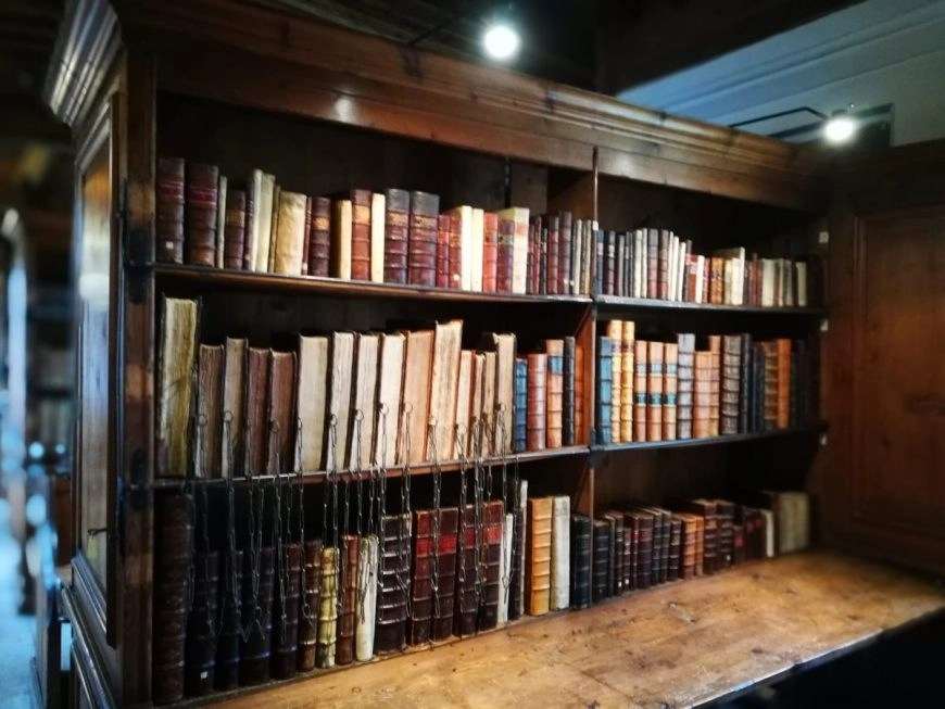 The chained library inside Wells cathedral, England's smallest city