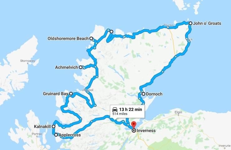 Our full nc500 route - Destination Addict