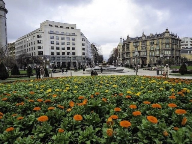 Why Visit Bilbao – Told Through Our Highlights - A flower filled view of Plaza Moyua - Destination Addict
