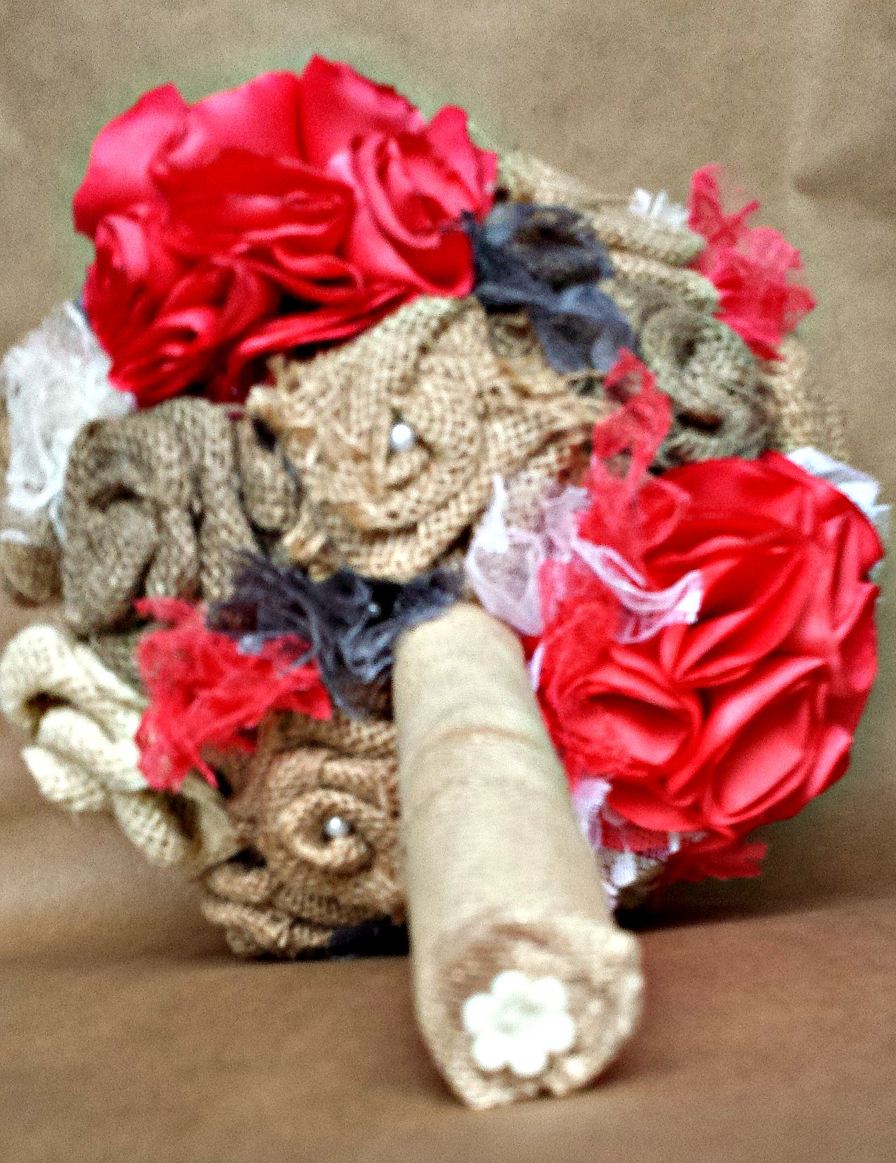 DIY Fabric Flower Bouquet Using Burlap and Satin