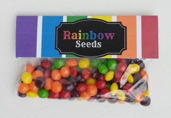 How to Make a Rainbow Seeds Goodie Bag | Fill a Ziploc Bag with Skittles or M&M's and Attach the Free Rainbow Seeds Printable | Perfect for St. Patrick's Day or Gifts for Neighbors of Classmates