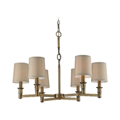 Chandelier With Beige Cream Shades In Brushed Antique Brass Finish