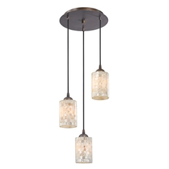 Multi Light Pendant With Mosaic Glass And 3 Lights