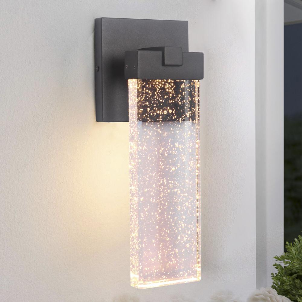 seeded glass led outdoor wall light black craftmade lighting at destination lighting