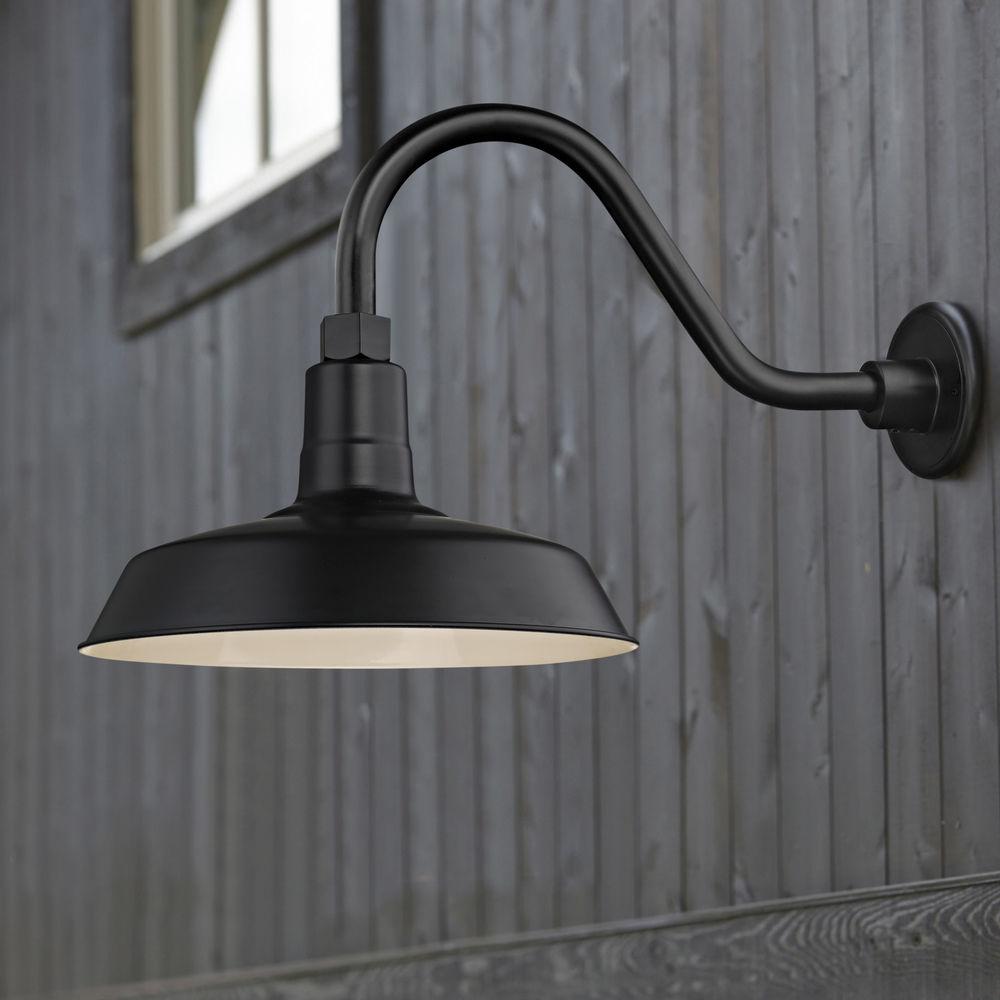 black gooseneck barn light with 12 inch shade at destination lighting