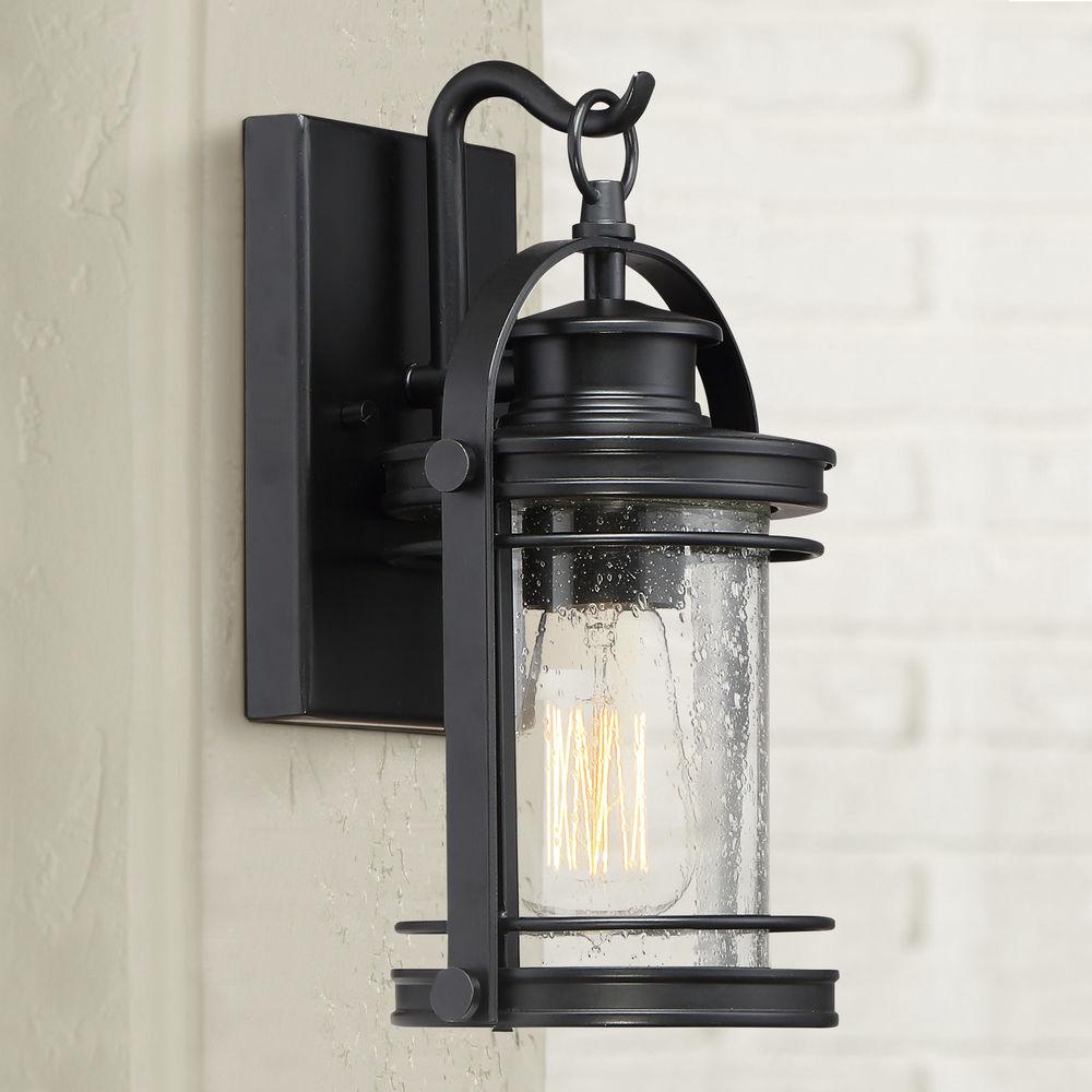 seeded glass outdoor wall light black quoizel lighting at destination lighting