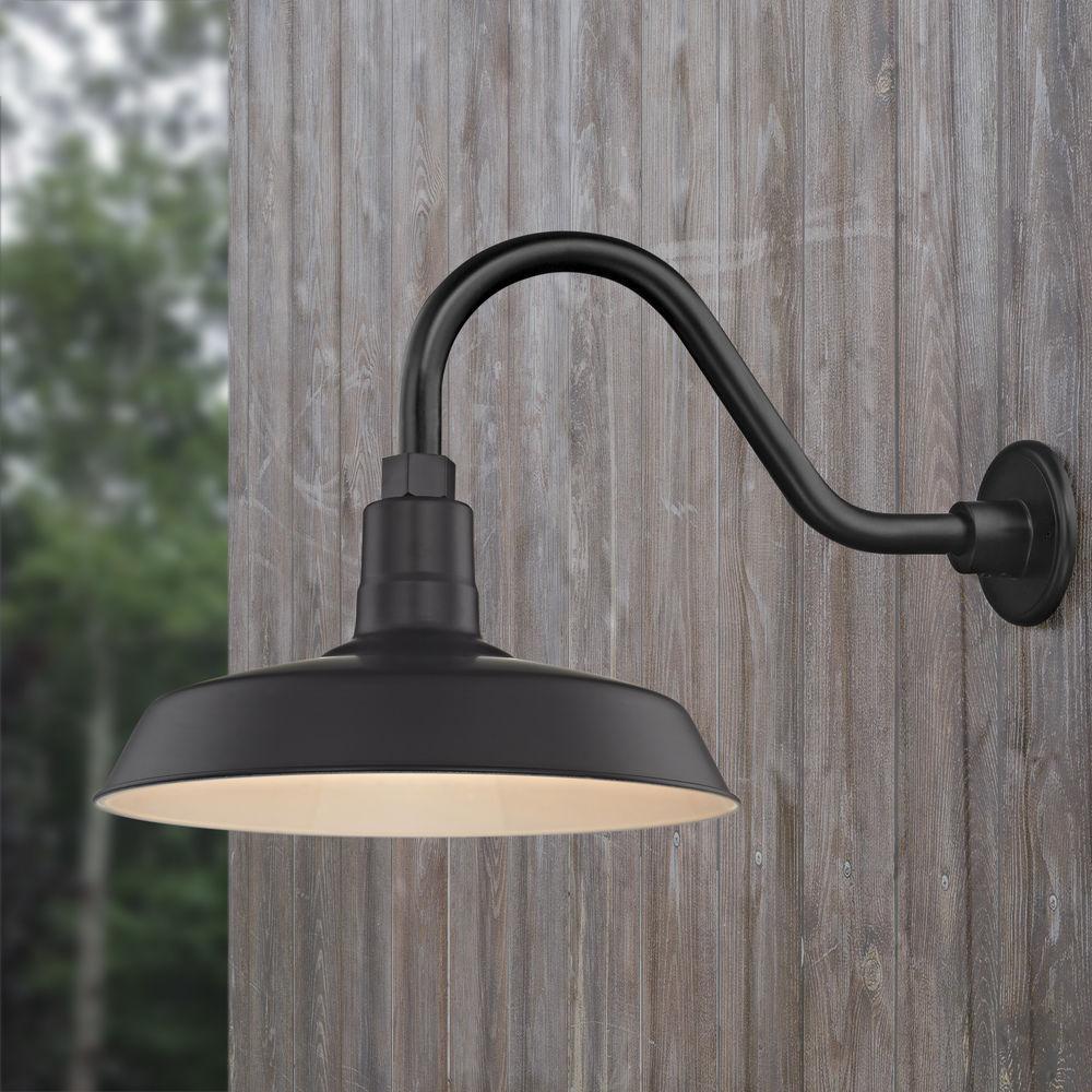 black gooseneck barn light with 14 inch shade at destination lighting