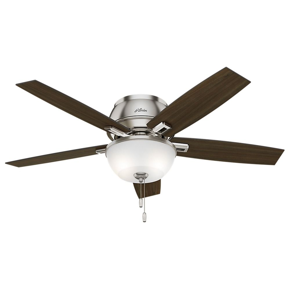 52 Inch Hunter Fan Donegan Low Profile Brushed Nickel LED Ceiling Fan With Light 53344