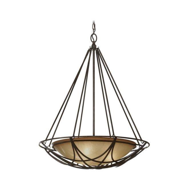 Feiss Lighting Bowl Pendant Light In Bronze Finish With Ivory Glass F2607 3mbz