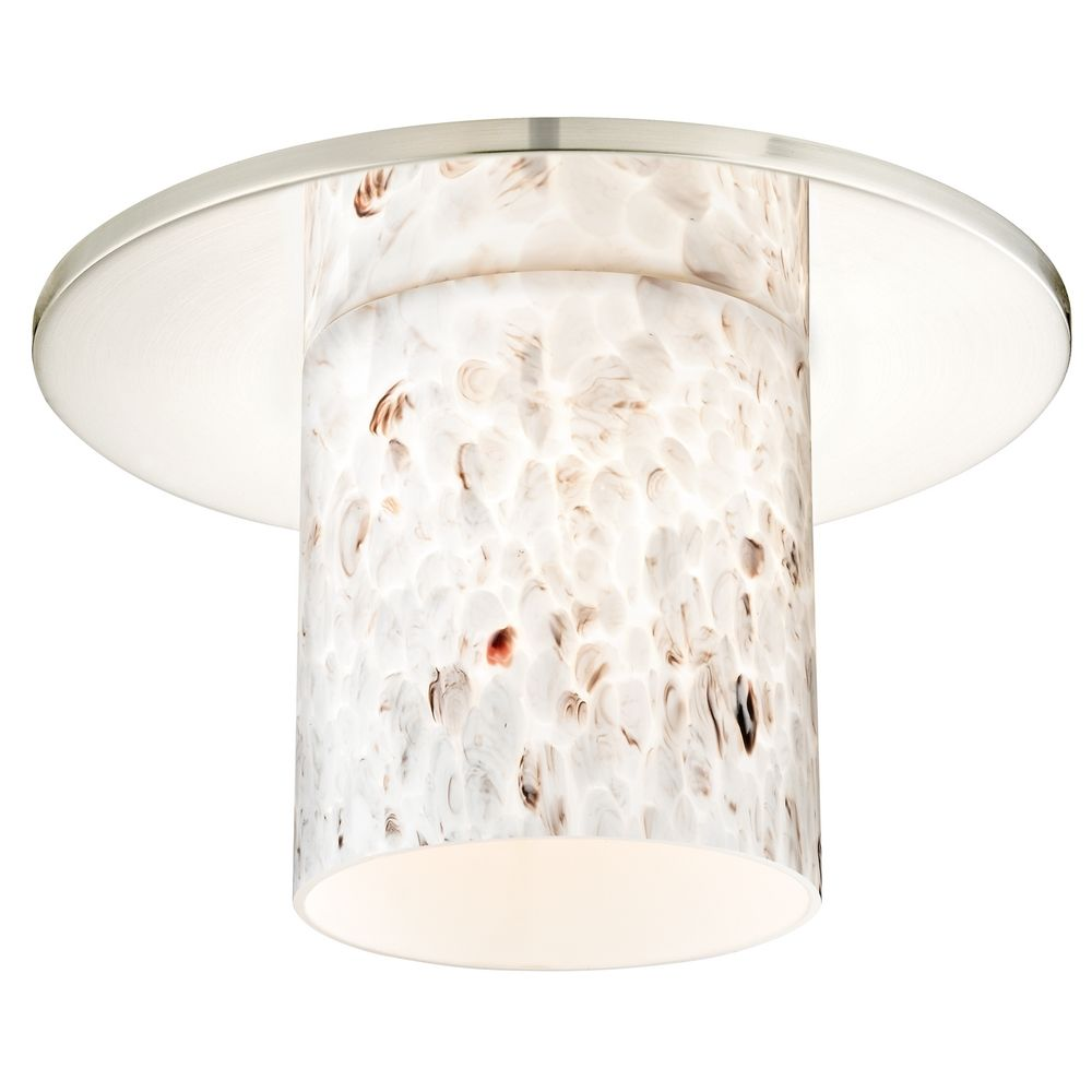 decorative recessed ceiling trim with art glass cylinder shade at destination lighting
