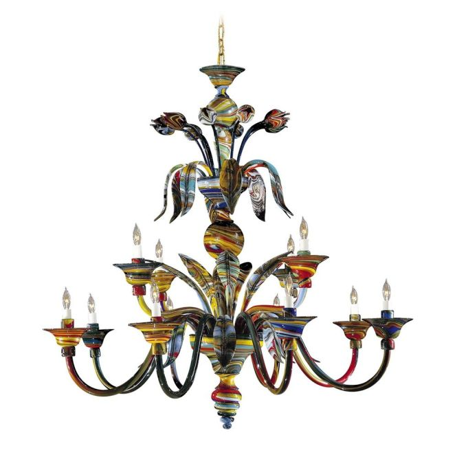 Metropolitan Lighting Chandelier With Multi Color Glass In Multicolor Finish C7056 12 Hover Or Click To Zoom