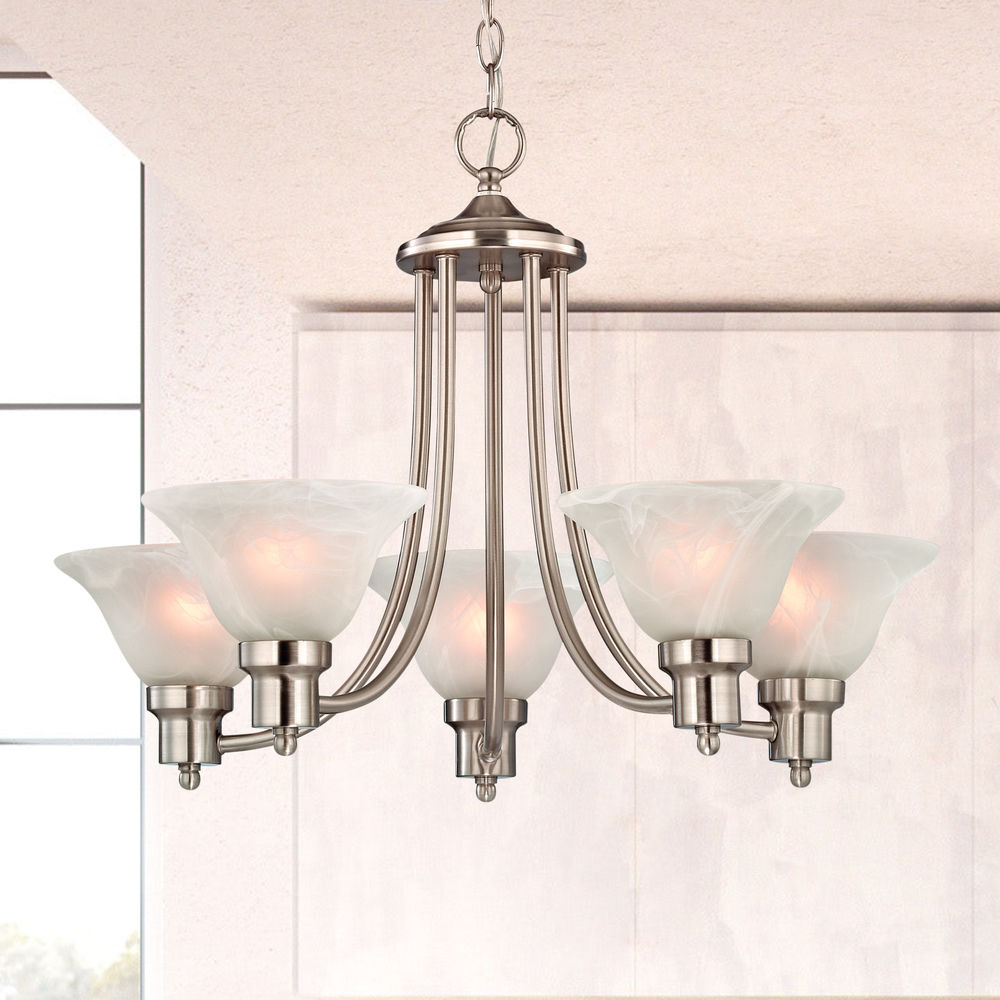 satin nickel chandelier with alabaster glass shades at destination lighting