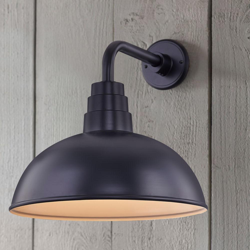 black gooseneck barn light with 16 inch dome shade at destination lighting