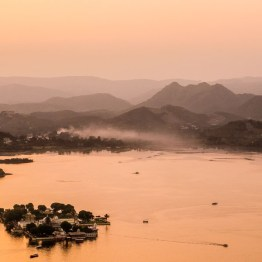 sunset over mountains around Udaipur