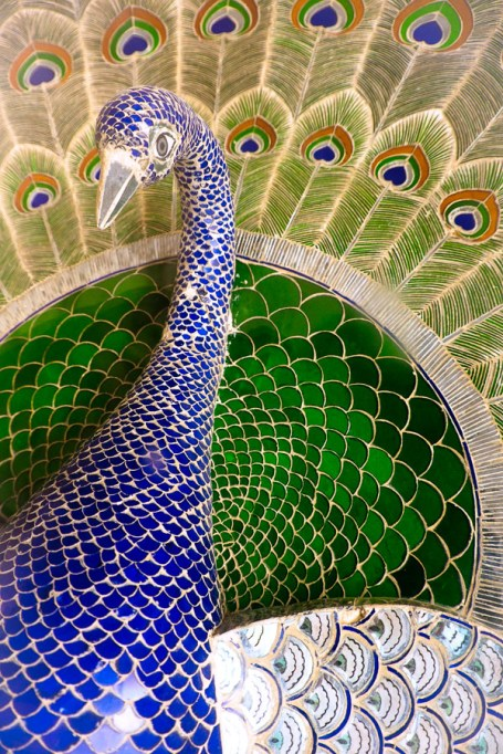 Peacock created in 3D mosaic