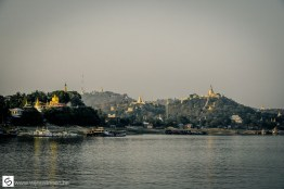Golden temples along the Ayeyarwady River in Myanmar