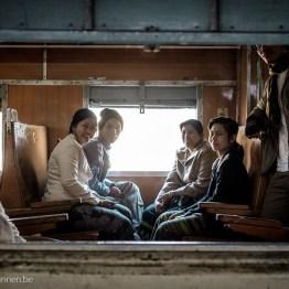 Family taking train ride