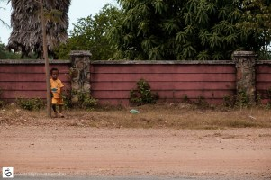Little boy on the side of the road