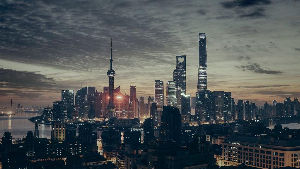 Xangai Vista prédios Xangai tons cinza