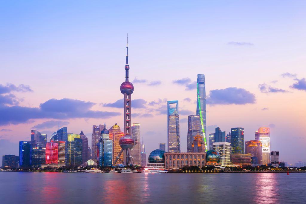 Xangai Vista prédios modernos em Xangai na China