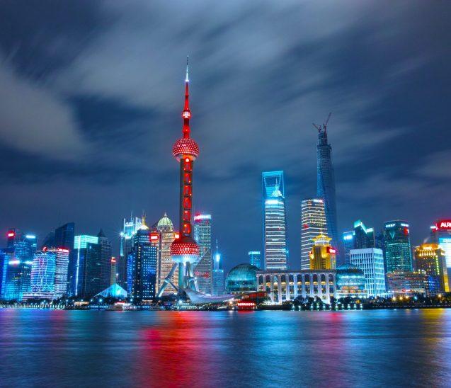 Visão panorâmica da China a noite