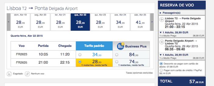 Voos baratos para os Açores na Ryanair