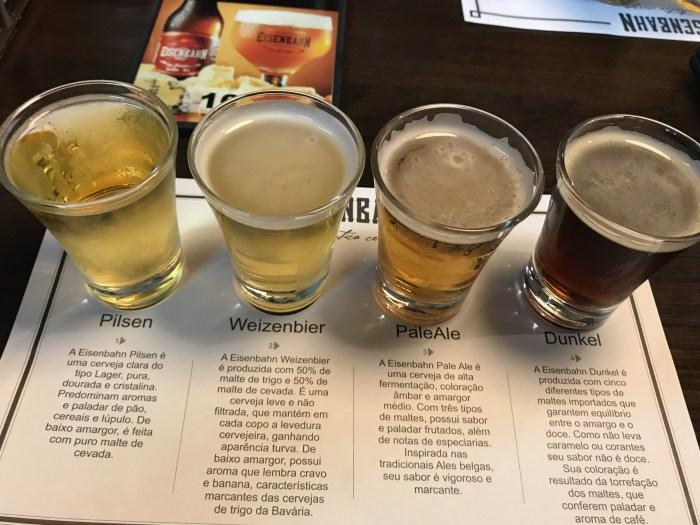 Degustação dos tipos de cervejas da Eisenbhan