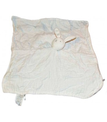 grand doudou plat tissu lapin blanc dpam tissu 40 cm