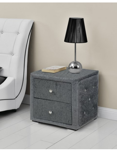 table de chevet capitonne simili cuir gris en tissu suny luxury design bed