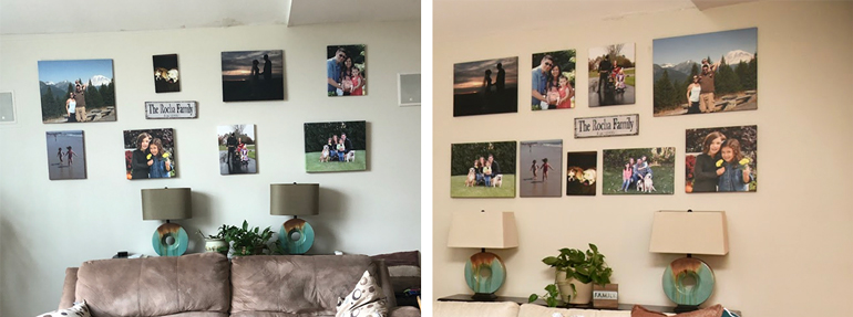 Updated Family Photo Wall - Photo Collage - Wall Display - Details Full Service Interiors - Interior Decorating in Western Mass
