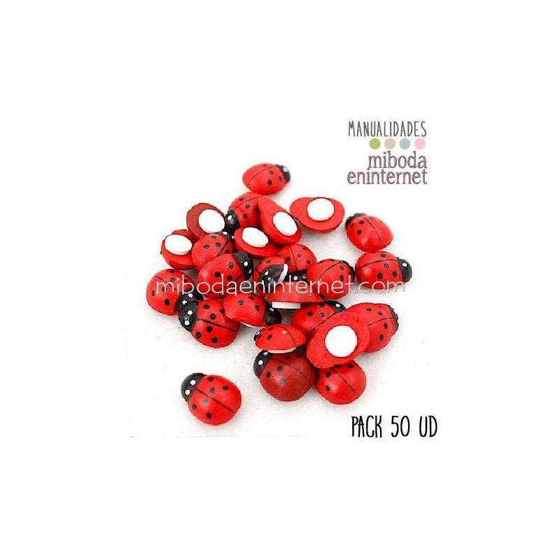 Pack 50 ud mariquitas adhesivas rojas negras tematica