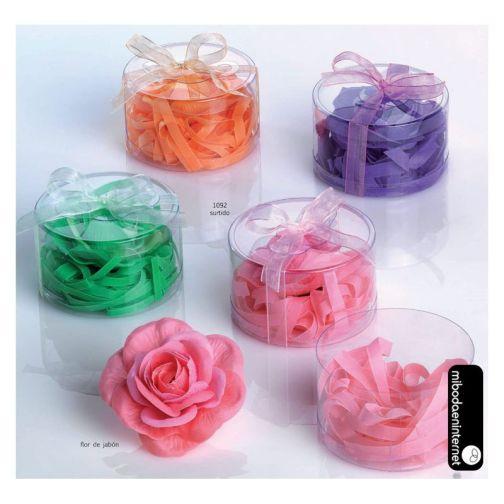 Flor de jabón con virutas de jabón c/ caja y lazo