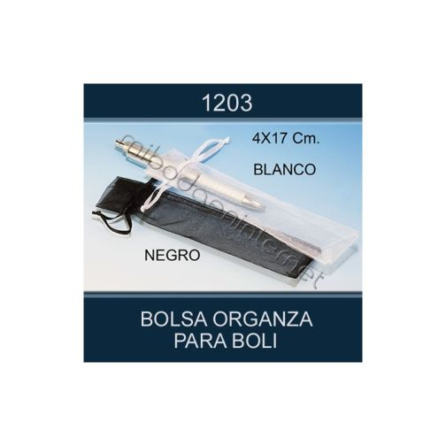Bolsa Organza 4 x 17 negra (boligrafos, navajas...)