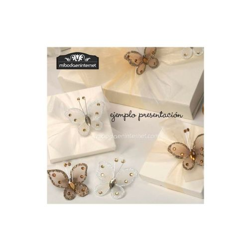 Broche Mariposa tul y cristal marrón / marfil surtido