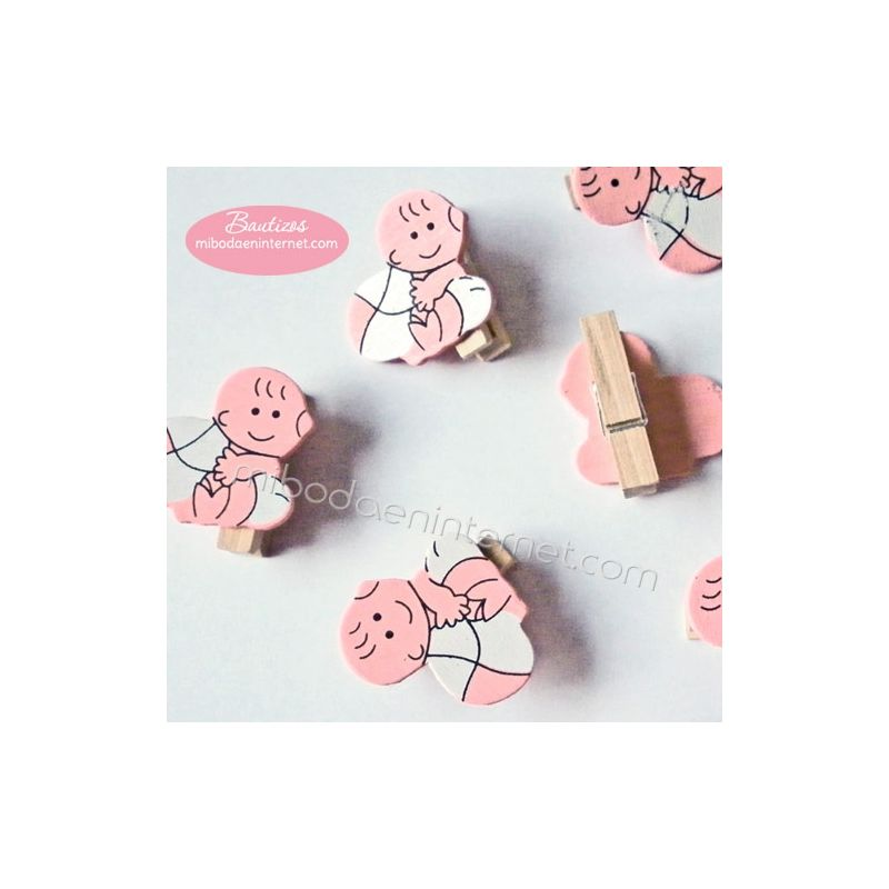 Pinza madera bebe rosa con pelota 12ud