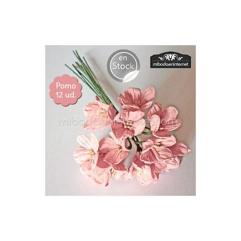 Flor rosa palo de papel pomo de 12ud