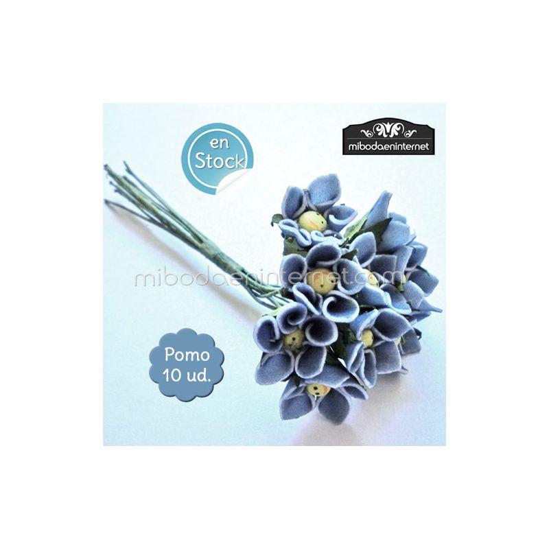 Flor azul sonrisa pomo 10ud