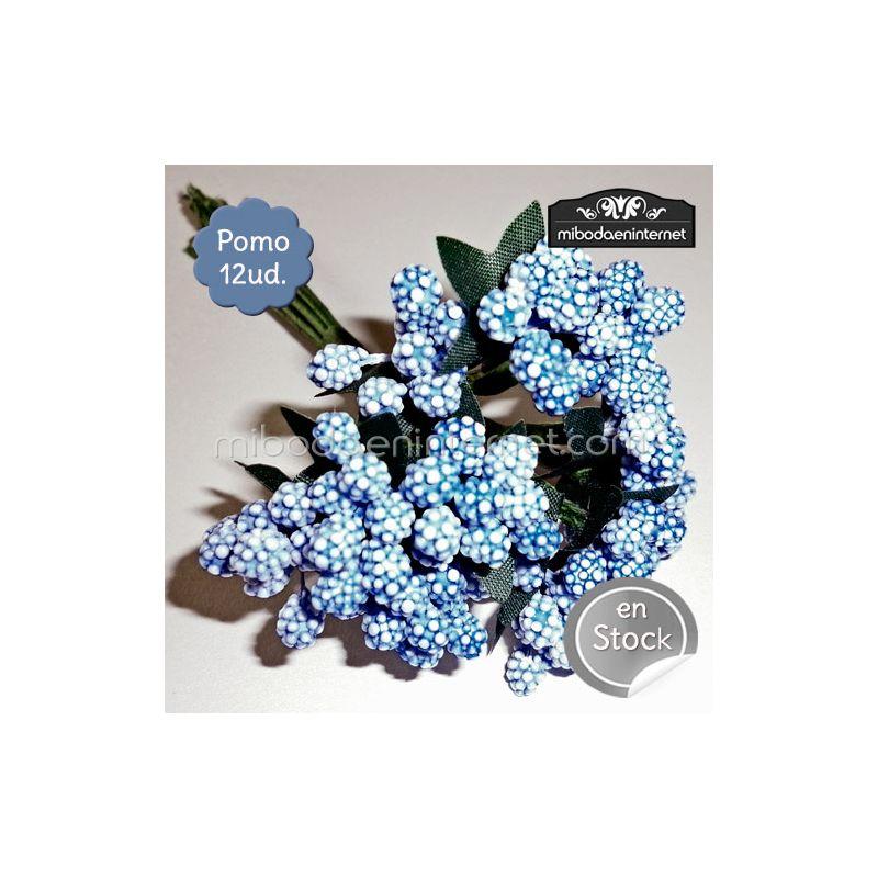 Flor azul bolitas pomo 12ud