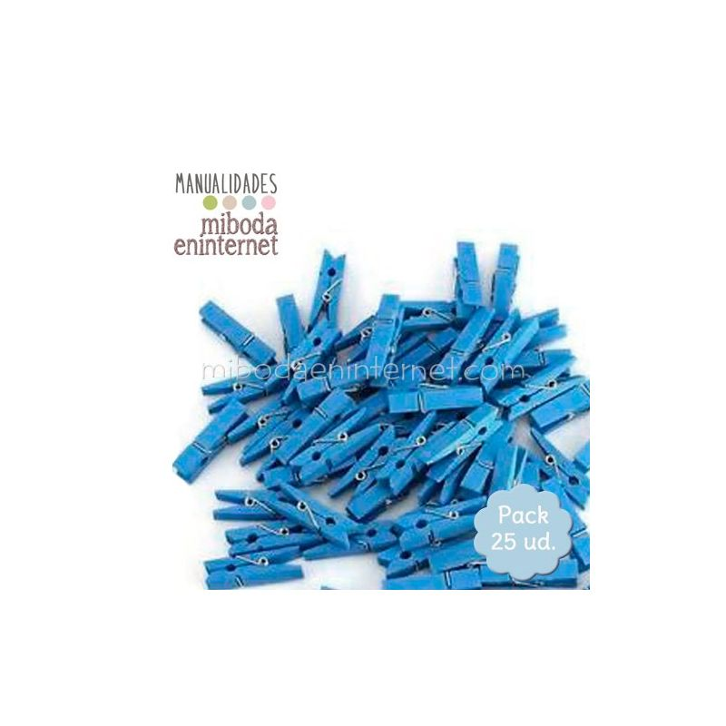 Mini Pinza madera azul 25ud