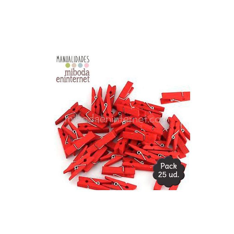 Mini Pinza madera roja 25 ud