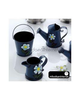 Cubo, Regadera, lechera con flor Metal Stdo.