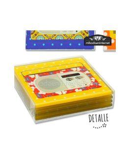 Posavasos Cristal Diseño Radios 4 ud con caja