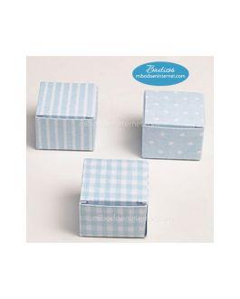 Pack 24 Cajas Cubo celeste estampada