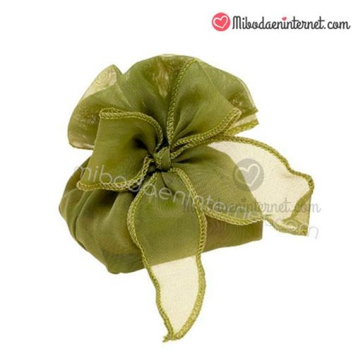 Bolsa Organza con lazo en verde oliva
