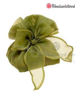 Bolsa con lazada organza tupida oliva 10 cms