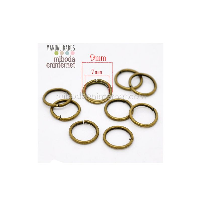 Anilla metal bronce abierta 09 mm Pack 10 ud