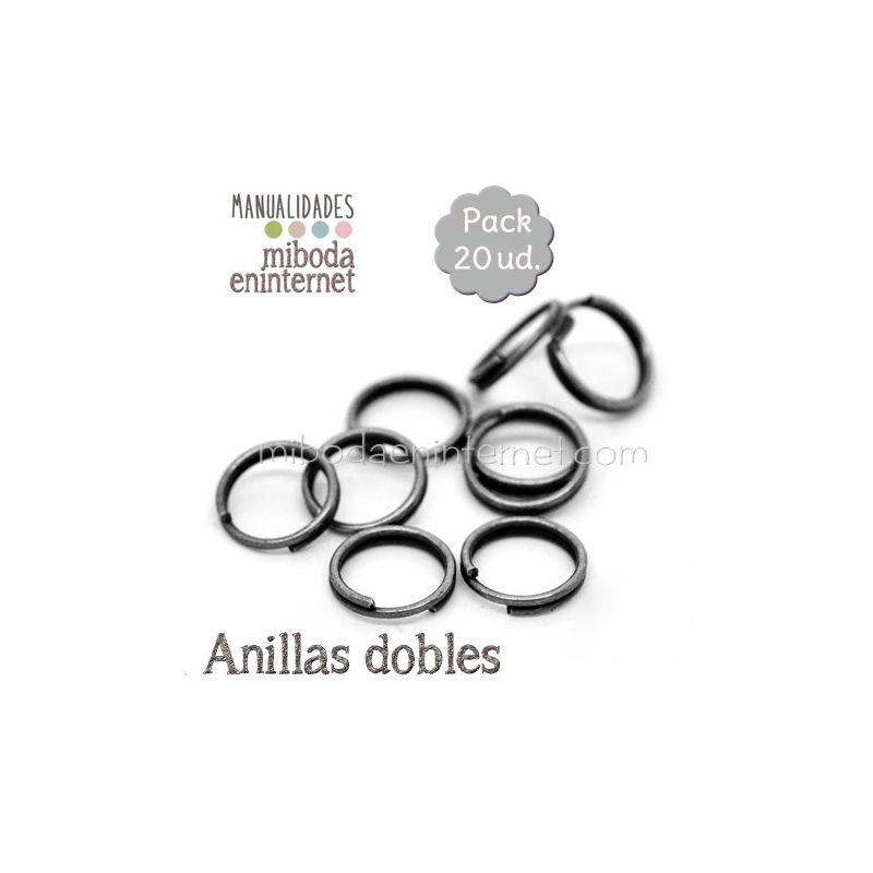 Anilla metal negra abierta doble 06 mm Pack 20 ud