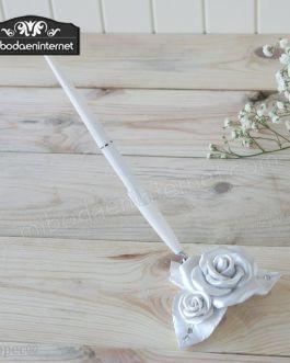 Bolígrafo firmas Flor Rosa