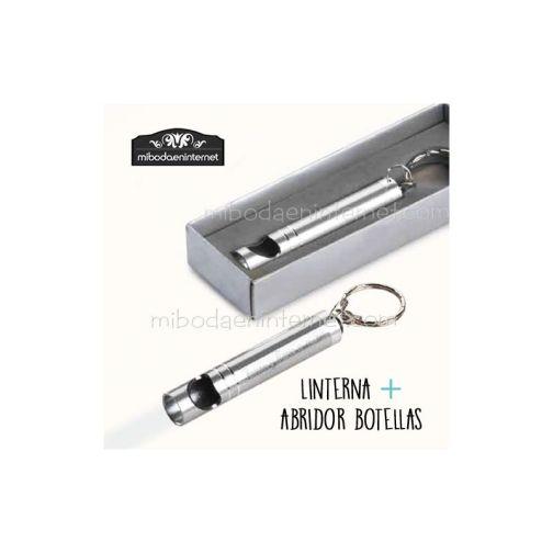Llavero linterna abrebotellas aluminio con caja