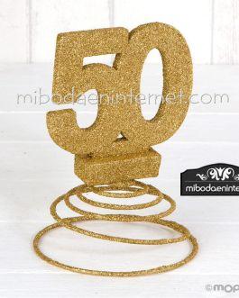 Decoracion 50 aniversario purpurina dorada con muelle